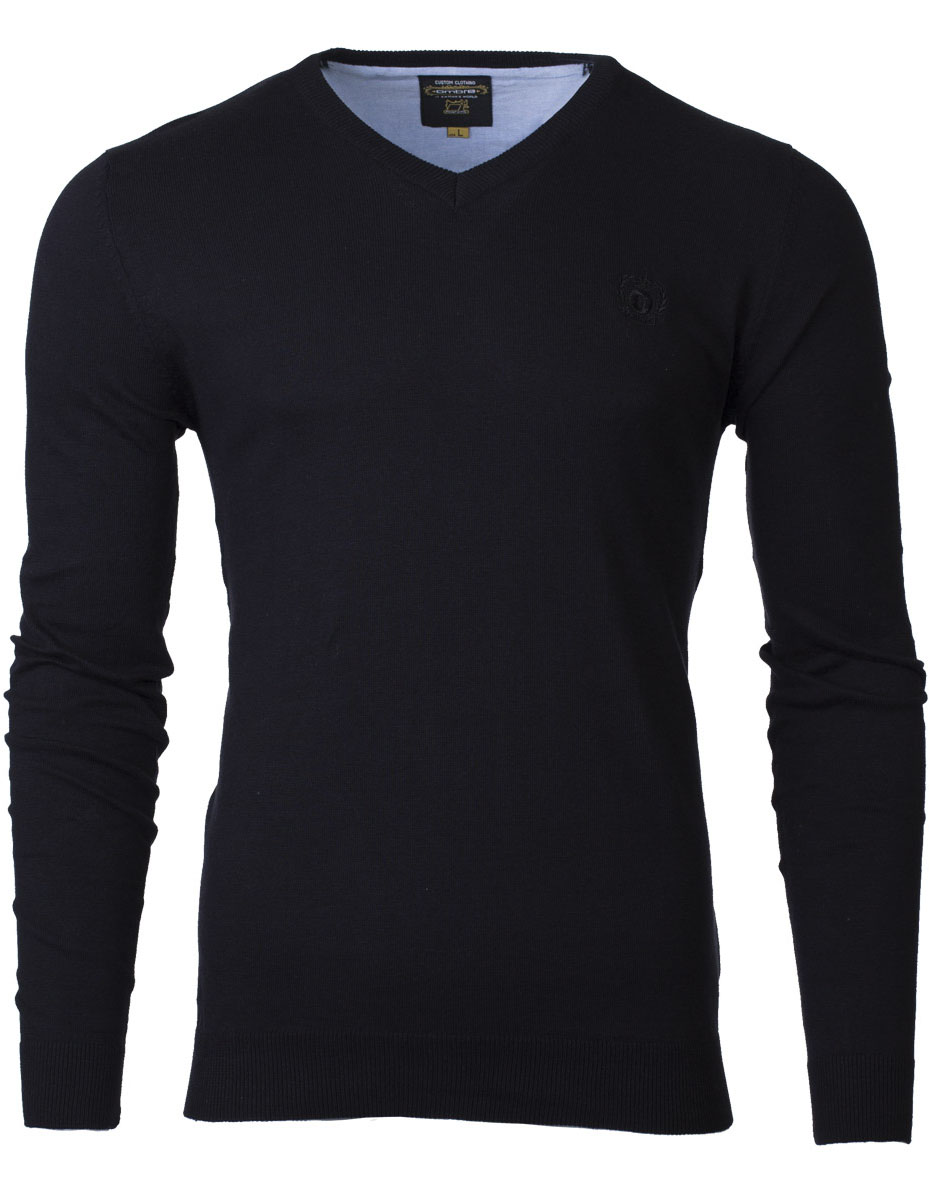 Pánsky sveter s výstrihom do V Verel čierna XXL