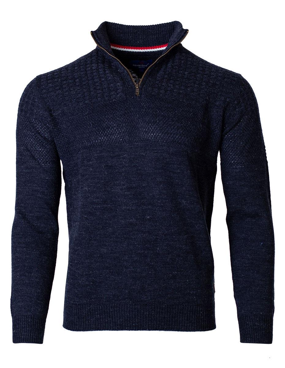 Pánsky sveter na zips Isai navy XXL