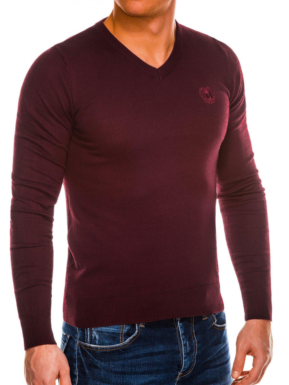 Pánsky sveter s výstrihom do V Verel tmavo červená M