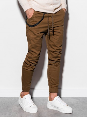 Ombre Clothing Pánske jogger nohavice Cowal hnedá