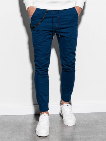 Ombre Clothing Pánske jogger nohavice Cowal Navy